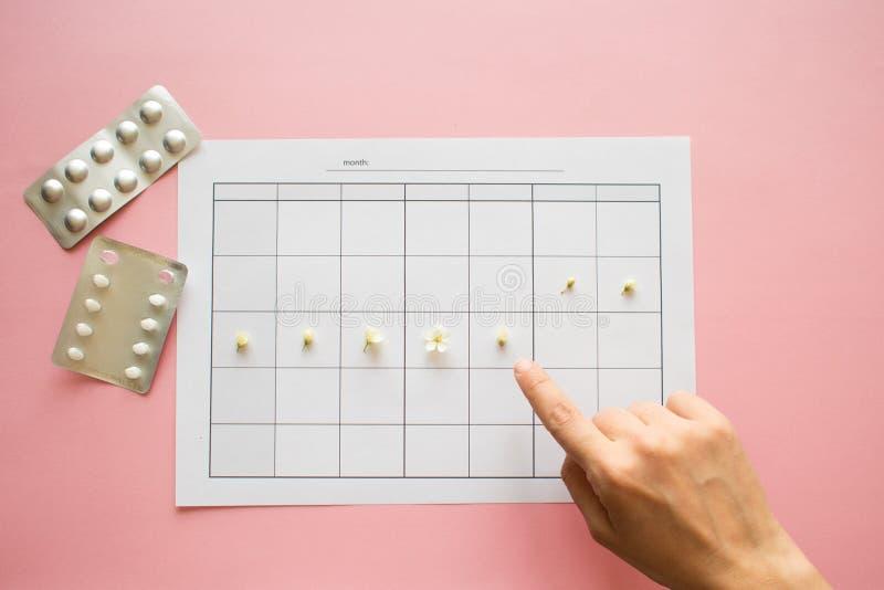 Ovulatiecyclus, concept De kalender voor een maand, bloemen wijst op stock foto's