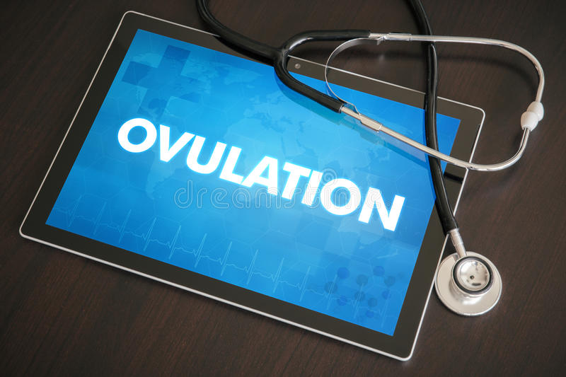 Ovulation (menstrual cycle related) medical concept on tablet sc. Reen with stethoscope royalty free stock photography