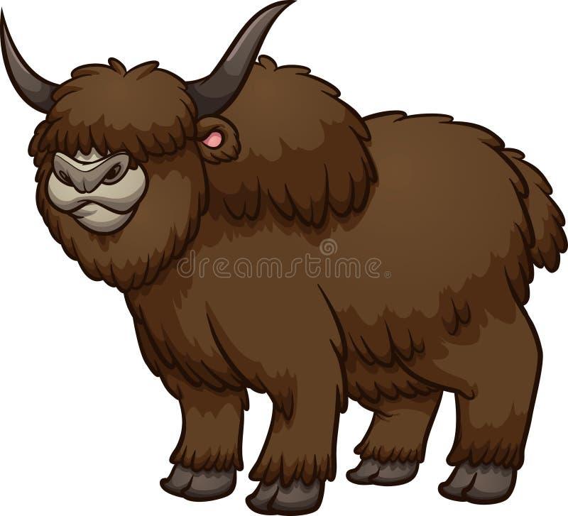 Owłosiony, brąz, wooly kreskówki yak męska pozycja royalty ilustracja