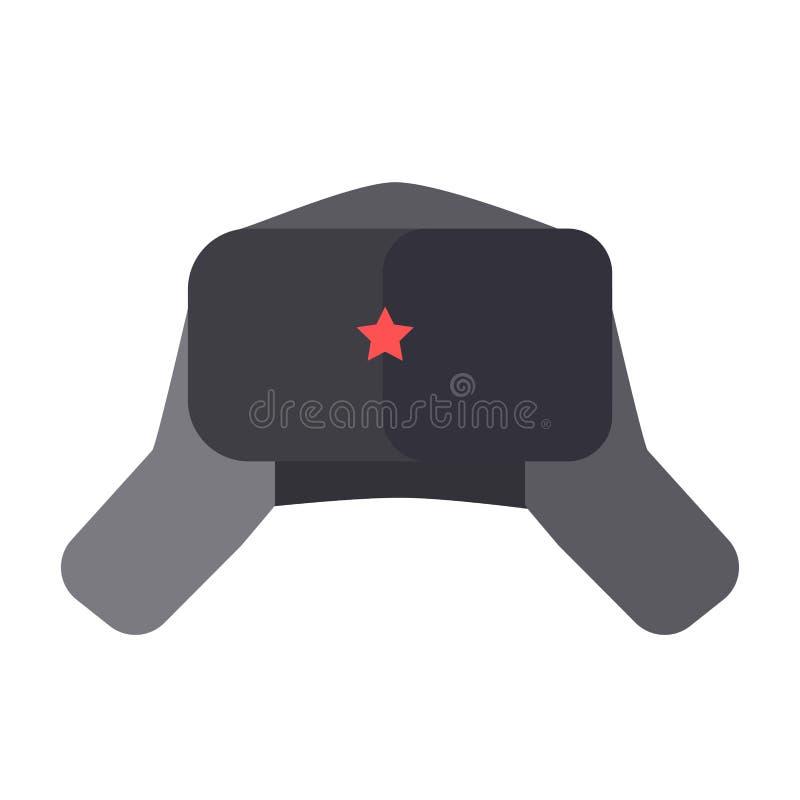 Owłosiony kapelusz z ucho łopotami i czerwień gramy główna rolę na przodzie ilustracja wektor
