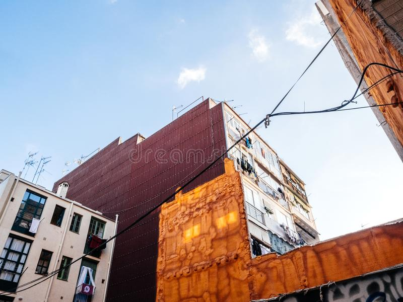 Ow anlge view of Barcelona neighborhood apartment buildings royalty free stock image