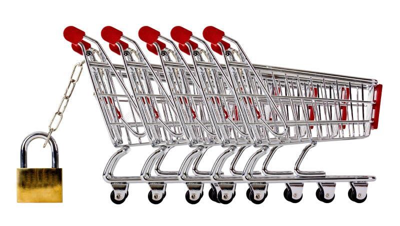 Ow de las carretillas de las compras aseguradas y aisladas imagen de archivo libre de regalías