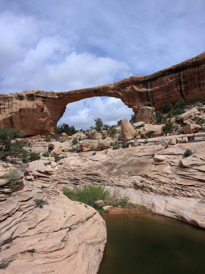Owachomo Bridge vertical veiw. Natural Bridges National Park, Utah, USA stock image