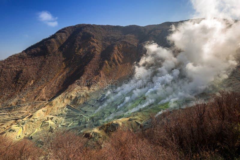 Owakudani,日本活跃硫磺出气孔  库存图片