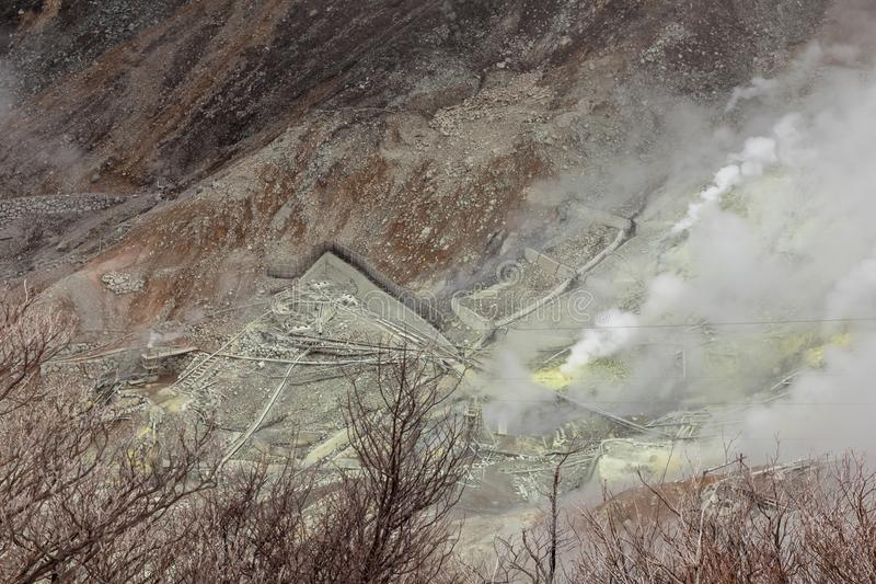 Owakudani is geothermal valley with active sulfur vents and hot stock photo