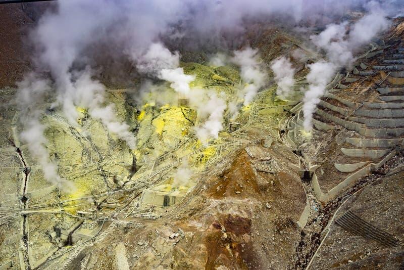 Owakudani& x27;s sulfur gas. stock photos