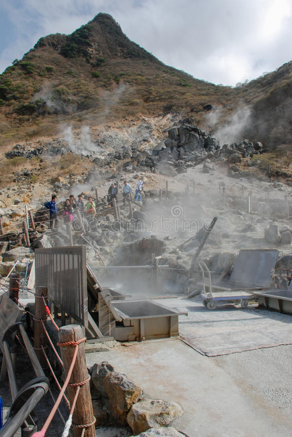 Owakudani Valley, in HAKONE-JAPAN. HAKONE- April 12: Owakudani Valley, in HAKONE-JAPAN on April 12, 2013. an active volcanic zone where sulfurous fumes, hot royalty free stock image