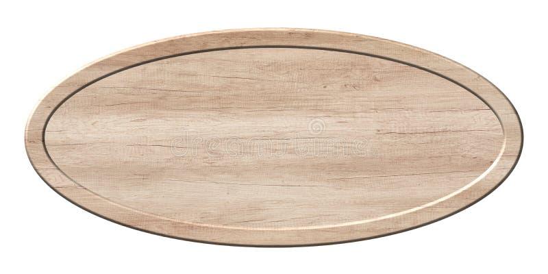 Owal deska robić lekki drewno z drewnianą ramą fotografia stock