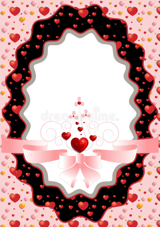 Owal rama z serc i menchii łękiem ilustracji