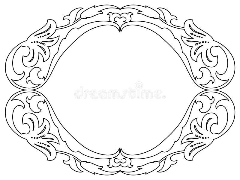 Owalna barokowa ornamentacyjna dekoracyjna rama ilustracja wektor