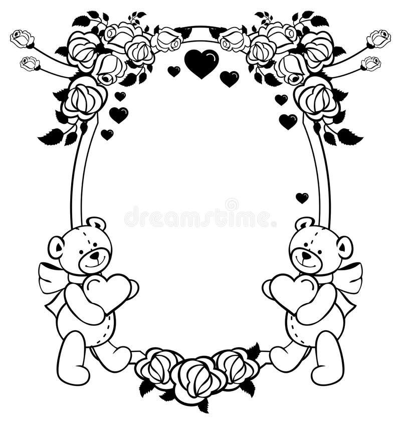 Owalna etykietka z kontur różami i ślicznym misiem trzyma serce Raster klamerki sztuka ilustracji
