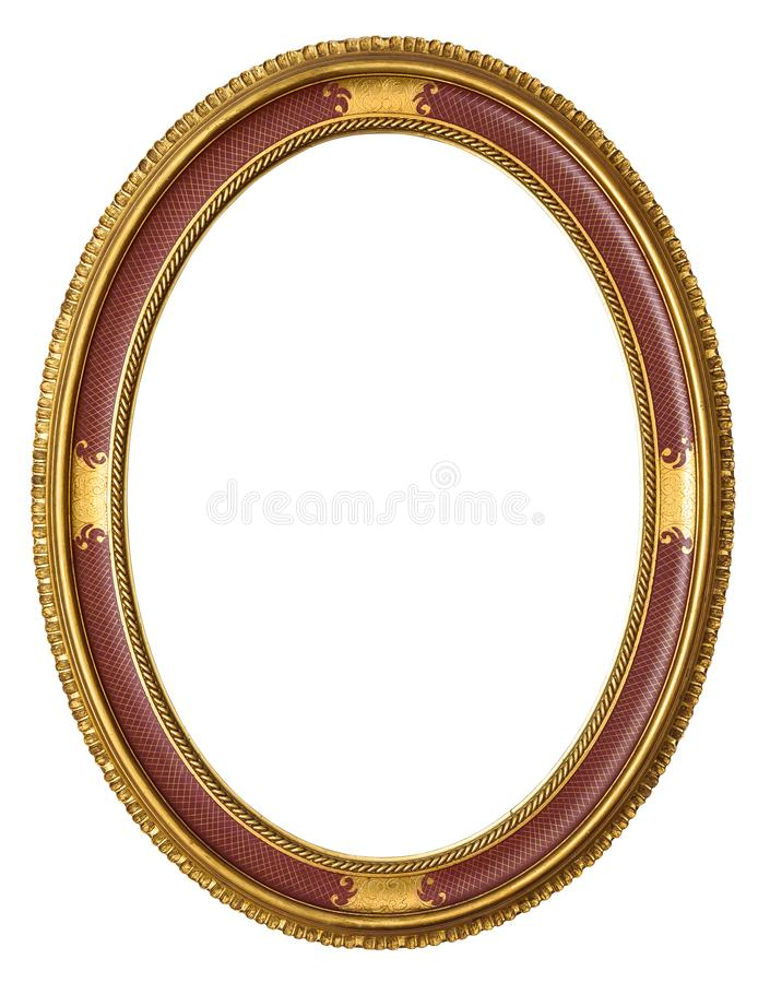 Owalna złota dekoracyjna obrazek rama obrazy royalty free
