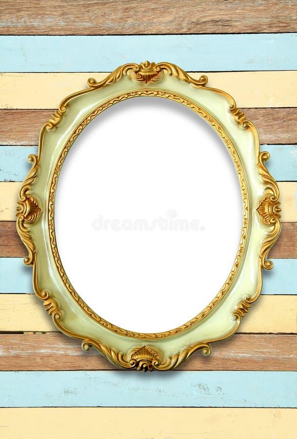Owalna złota koloru obrazka rama fotografia stock