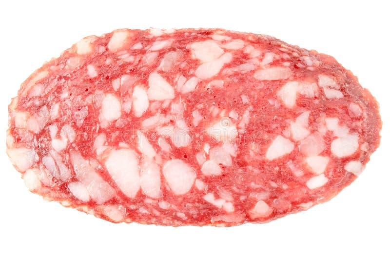 Owalnego salami plasterka kiełbasiana tekstura odizolowywająca na białym tło odgórnego widoku makro- szczególe zdjęcie stock