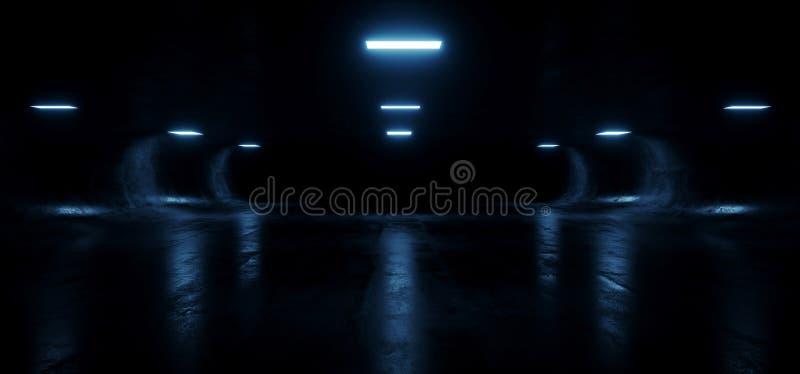 Owalny Beton Sci Fi Futurystyczny Nowoczesny Hallway Podziemny Ciemnonocny Studio Korytarz tunelowy Puste Tło Kosmiczne Grunge royalty ilustracja