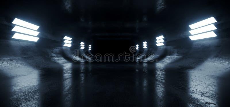 Owalny Beton Sci Fi Futurystyczny Nowoczesny Hallway Podziemny Ciemnonocny Studio Korytarz tunelowy Puste Tło Kosmiczne Grunge ilustracja wektor