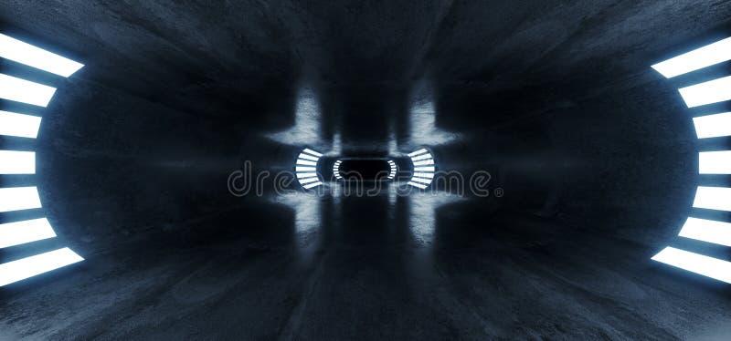 Owalny Beton Sci Fi Futurystyczny Nowoczesny Hallway Podziemny Ciemnonocny Studio Korytarz tunelowy Puste Tło Kosmiczne Grunge ilustracji