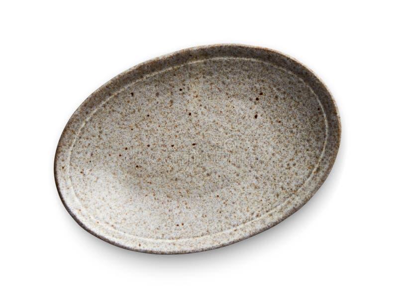 Owalny ceramiczny talerz, Opróżnia talerza z granitową teksturą, widok odizolowywający na białym tle z ścinek ścieżką od above fotografia stock