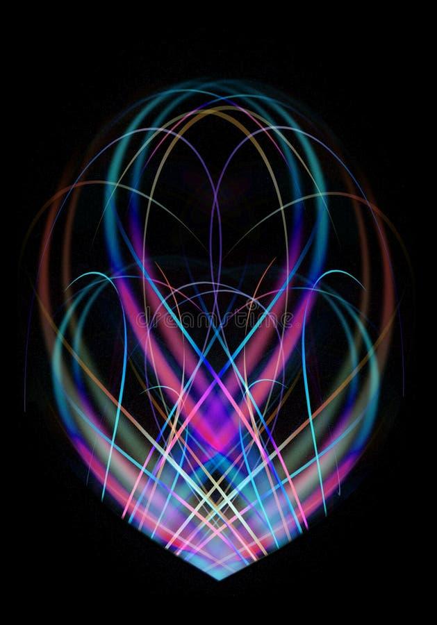 Owalny fractal kształt błękitni i różowi cienie, gromadzić od kręconych tęcza lampasów na czarnym tle ilustracji