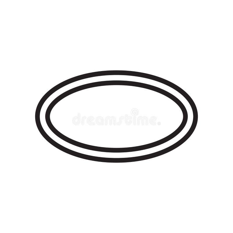Owalny ikona wektoru znak i symbol odizolowywający na białym tle, Owalny logo pojęcie ilustracja wektor