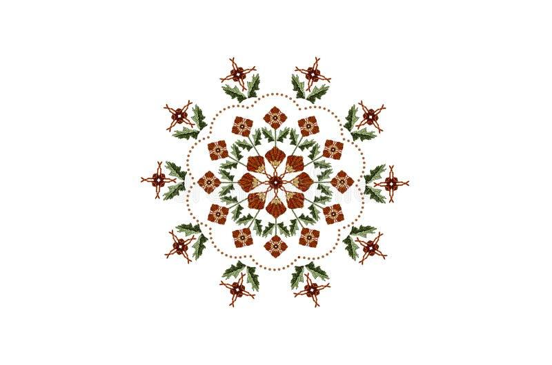 Owalny ornament dla hafciarskiej pomarańcze kwitnie na badylach z liśćmi i falistą ramą od koraliki na białym tle ilustracja wektor