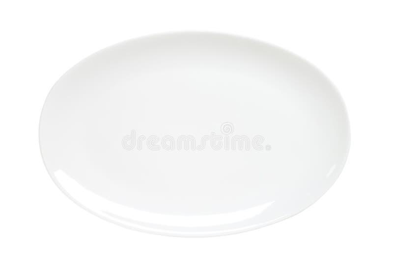 Owalny prosty biały półmisek fotografia stock