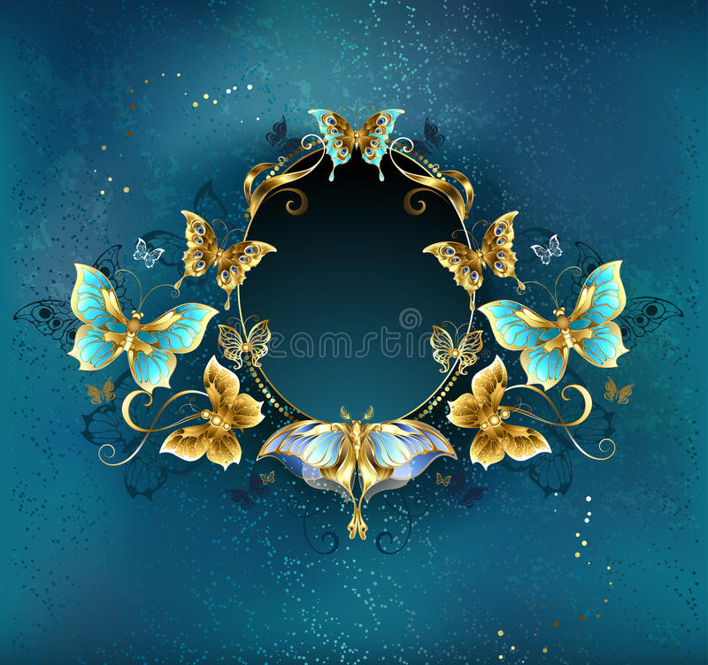 Owalny sztandar z luksusowymi motylami ilustracji