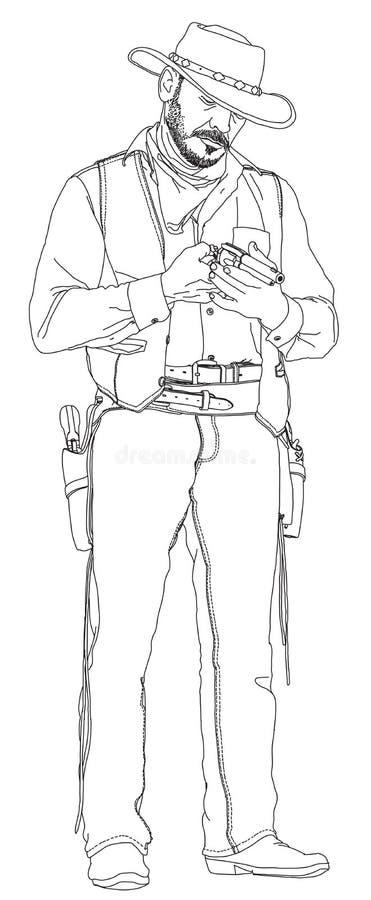 owboy revolver royaltyfri illustrationer