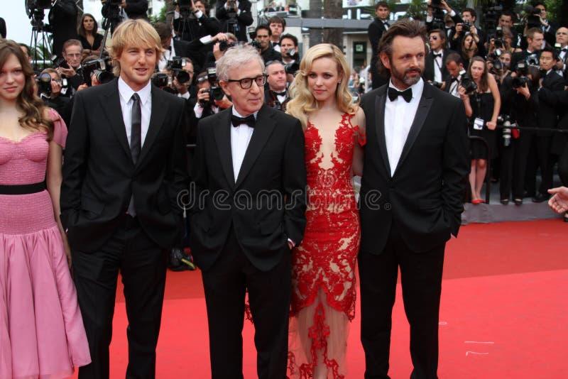 Owen Wilson, Woody Allen, Rachel McAdams & Michae stock foto