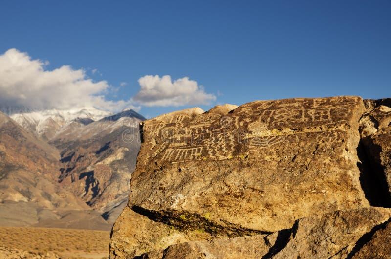 Owens doliny petroglify zdjęcia royalty free