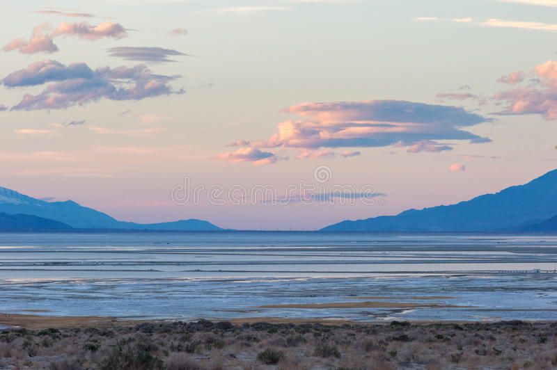 Owens Lake at sunset. Owens Lake in Inyo County, California, en route to Death Valley National Park. Most of the water that used to fill the lake has been royalty free stock photos