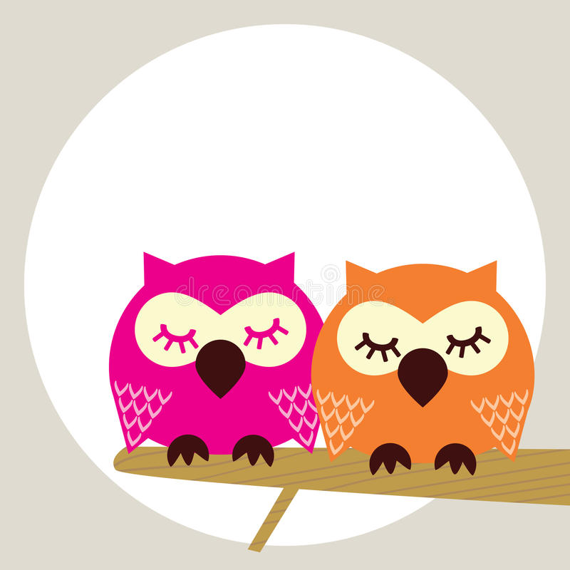 Owl. On a tree brunch royalty free illustration