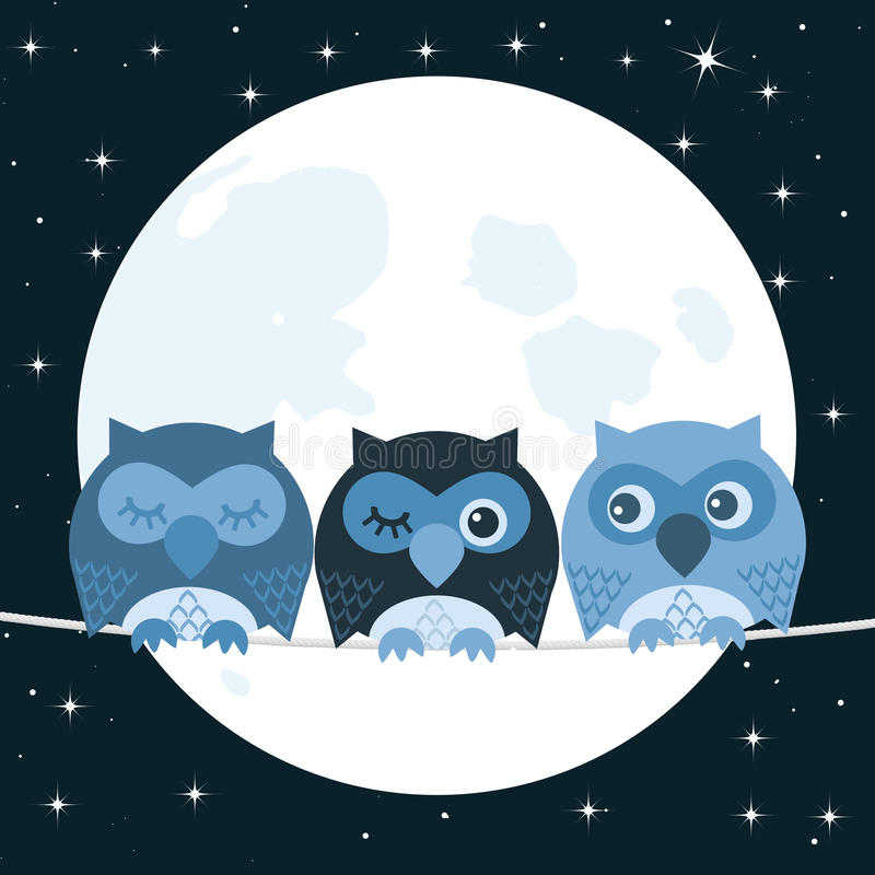 Owl. On a clothes-line stock illustration