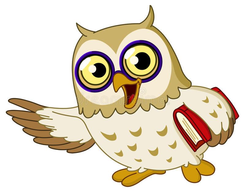 Owl. Wise cartoon owl holding a book and teaching