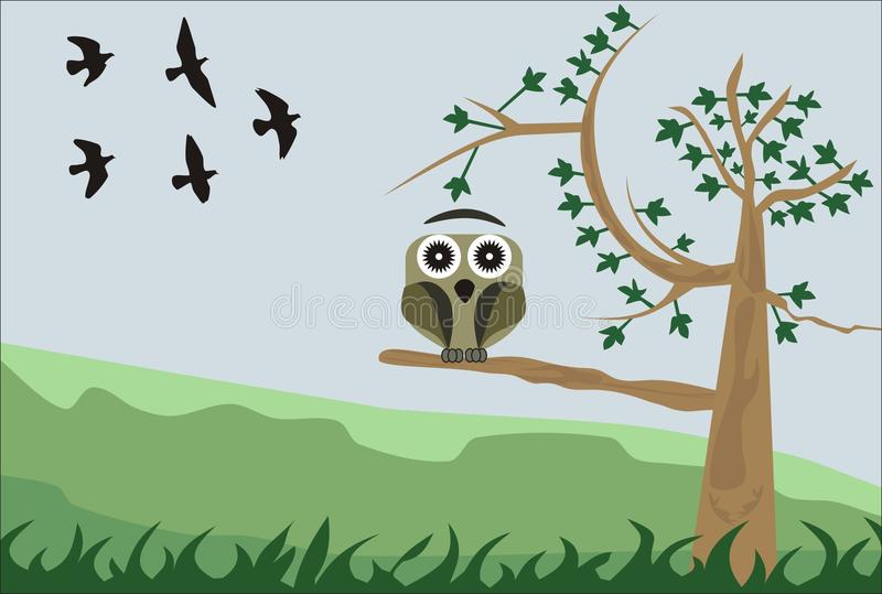 Owl. Illustration of an owl perched on a tree with birds in the background royalty free illustration