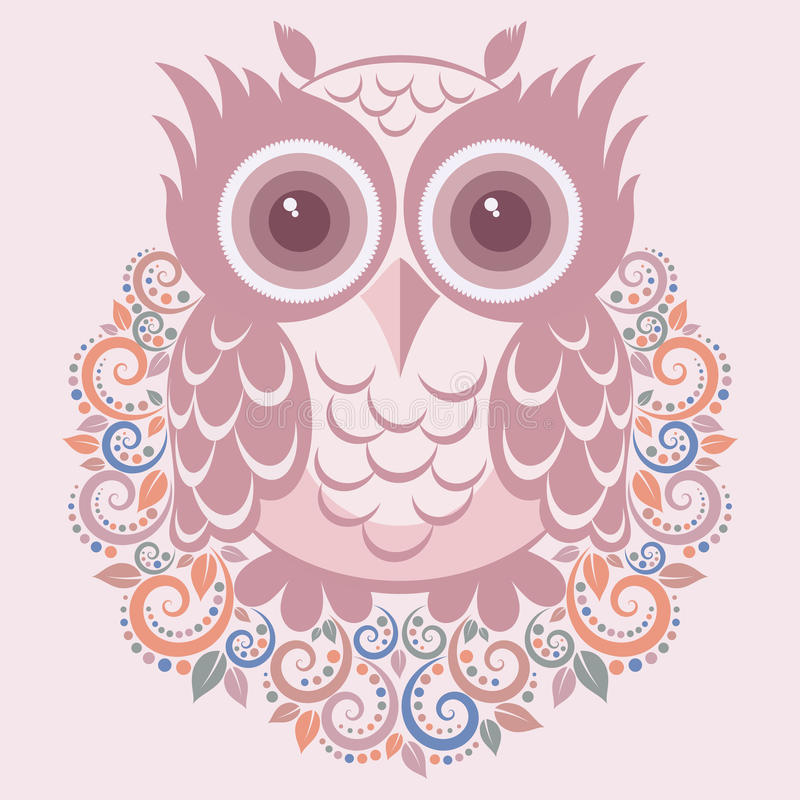Owl. Vector illustration cartoon t-shirt print
