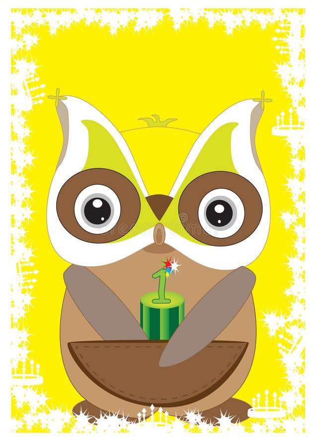 Download Owl 1st Card_eps stock vector. Illustration of celebration - 19071111