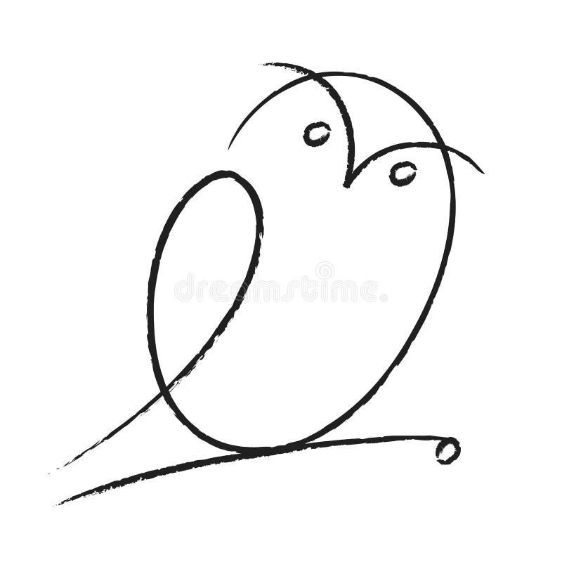 Owl. Hand drawn cartoon of owl