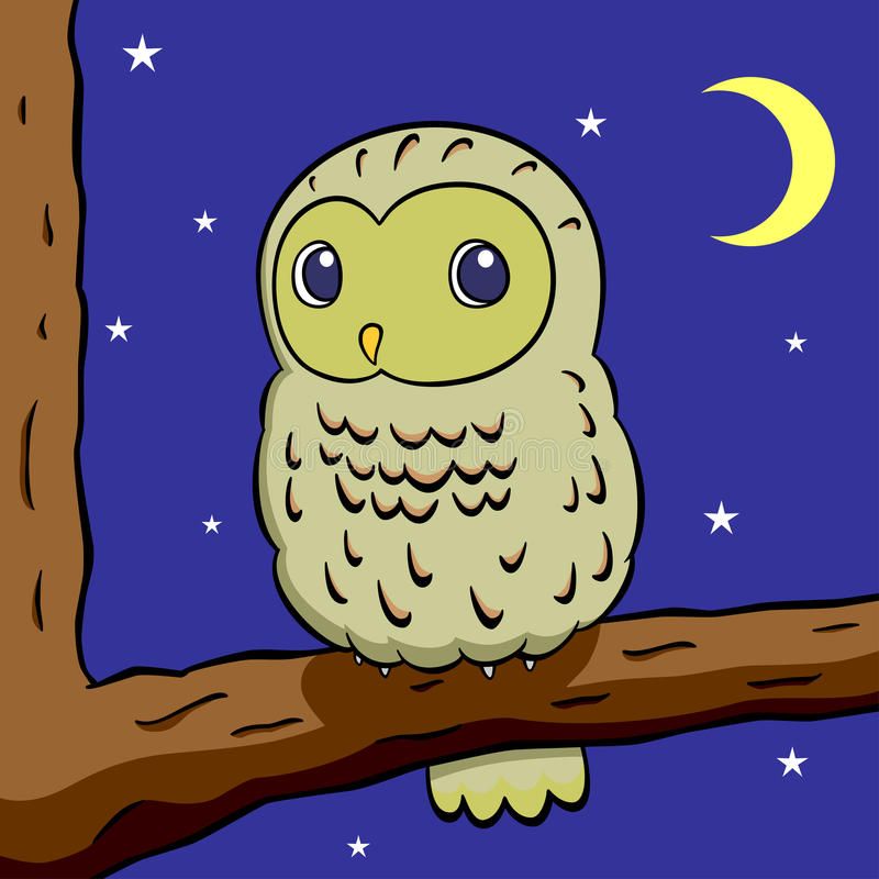 Download Owl stock vector. Image of lovely, night, moon, pretty - 24869503