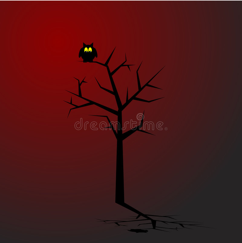 Owl. Sitting on a tree in spooky surroundings. Concept: Halloween royalty free illustration