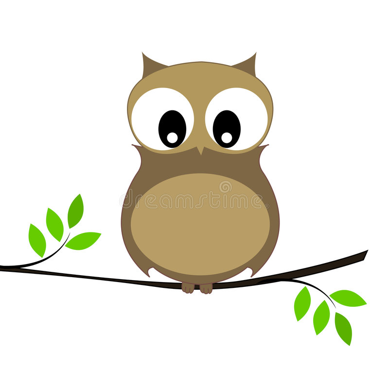 Owl. Cute owl sitting on a branch isolated on white background illustration