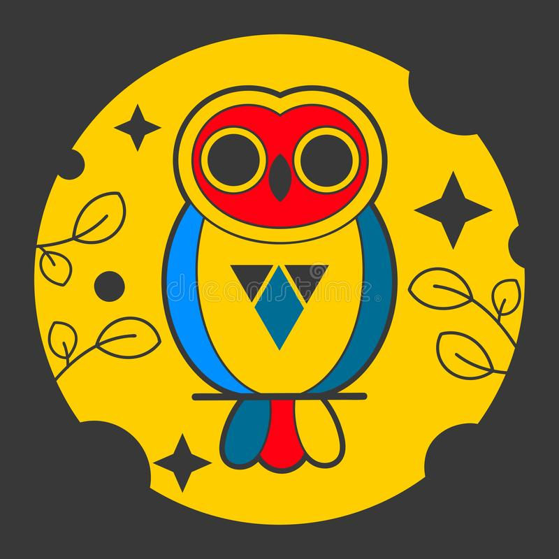 Owl Abstract Vector Sign, emblema o Logo Template Línea emblema de la geometría del estilo ilustración del vector