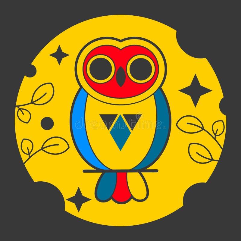 Owl Abstract Vetora Sign, emblema ou Logo Template Linha emblema da geometria do estilo ilustração do vetor