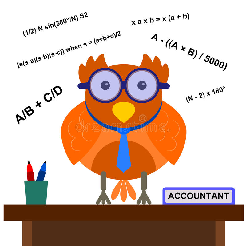Owl The Accountant Royalty Free Stock Photos