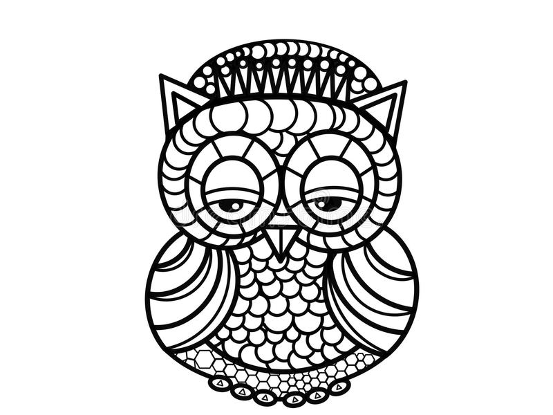 Owl Art Therapy Coloring Pages Stock Illustration - Illustration of ...