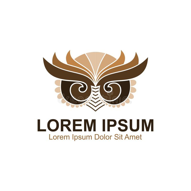 Owl Art Logo stock illustrationer