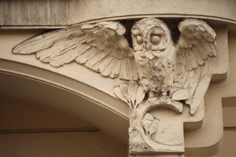 Owl. Art Nouveau building decoration in Prague, Czech Republic. Owl. Art Nouveau building decoration at Bubenecska Street in Prague, Czech Republic royalty free stock photo