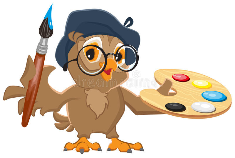 Owl Artist Holding Brush And Palette Stock Vector ...