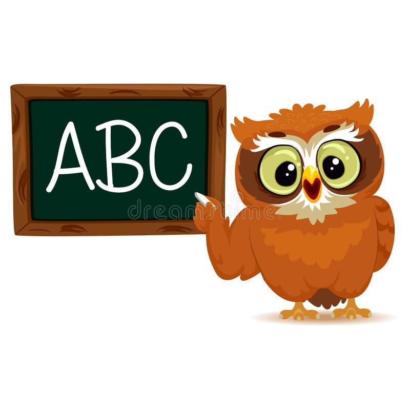 Owl as a teacher stock illustration