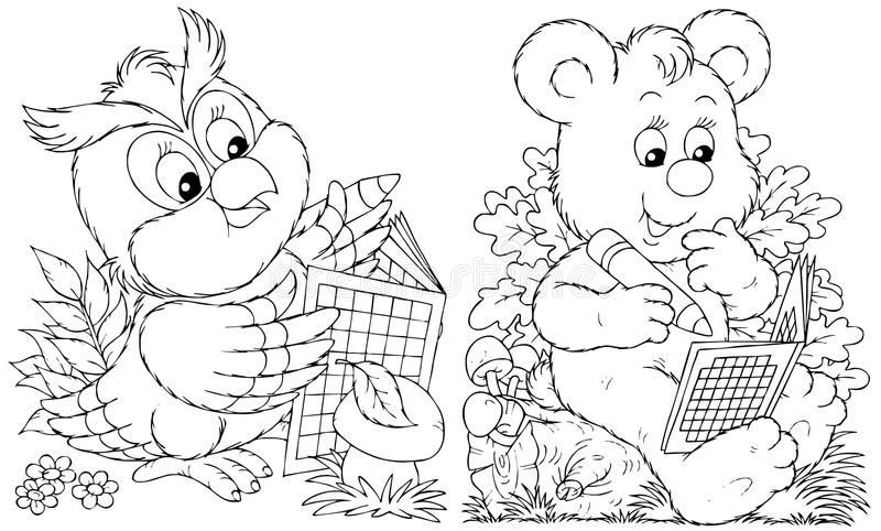 Download Owl and Bear stock illustration. Image of puzzle, sketch - 14556605
